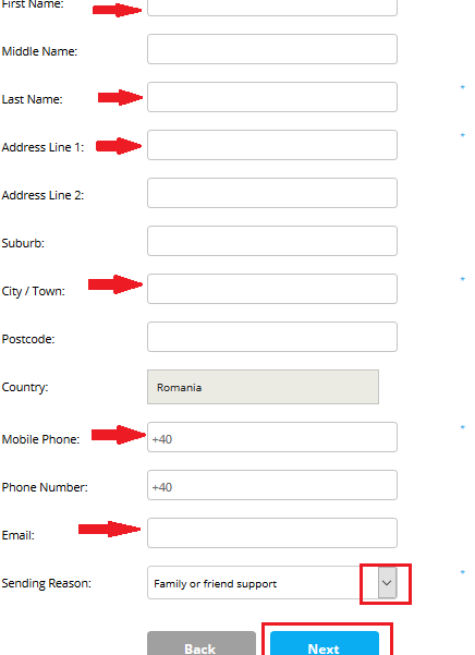 transfer bani worldremit alege nume si adresa destinatar