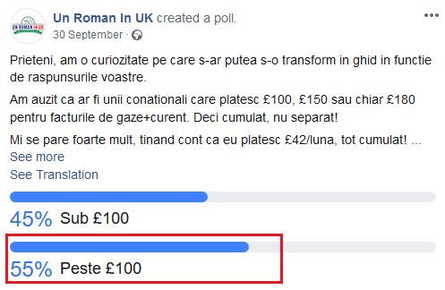sondaj pe FB cum platesti iefin factura la gaz si electricitate in UK un roman in uk